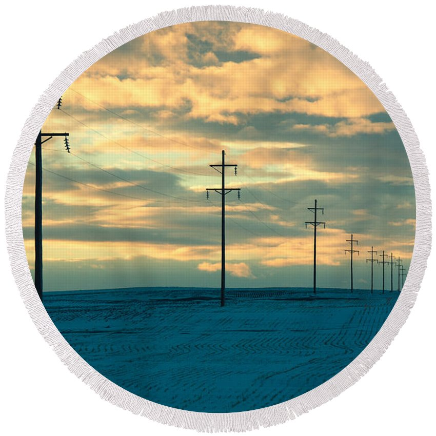 Electricity Round Beach Towel featuring the photograph Last Light by Todd Klassy