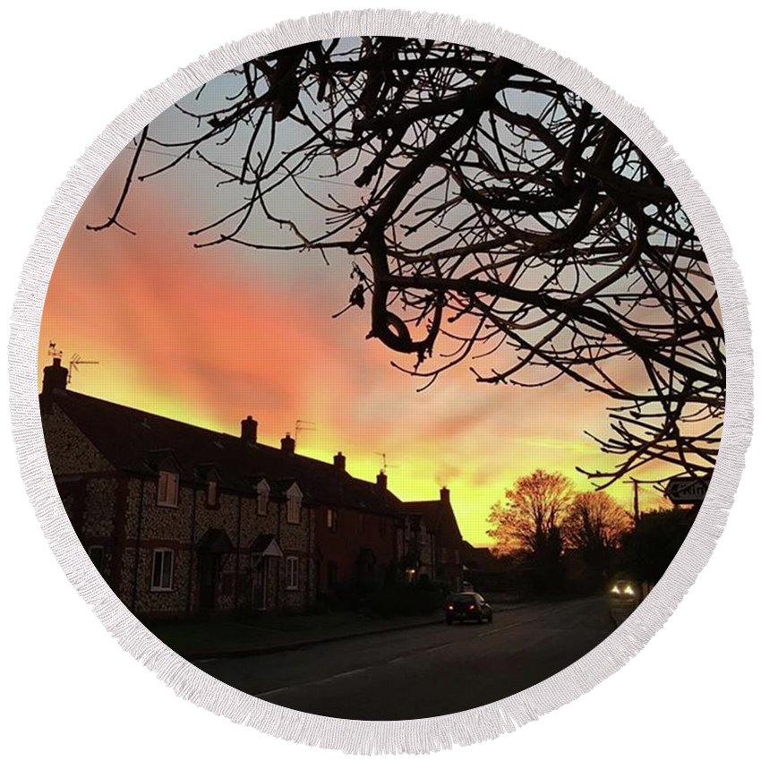 Natureonly Round Beach Towel featuring the photograph Last Night's Sunset From Our Cottage by John Edwards