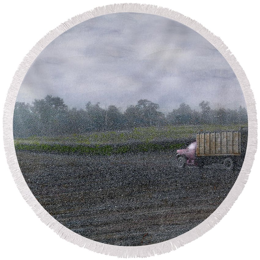 Corn Round Beach Towel featuring the photograph Last Of The Corn by Wayne King
