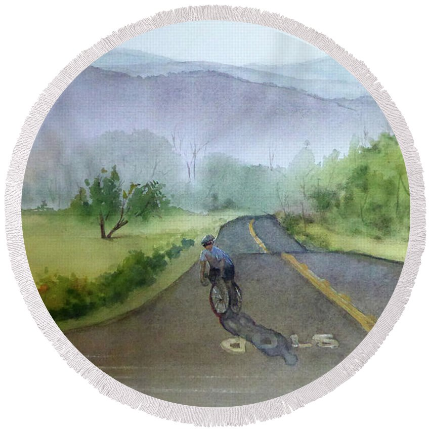 Landscape Round Beach Towel featuring the painting Last Of The Day Temescal Canyon by Janice Sobien