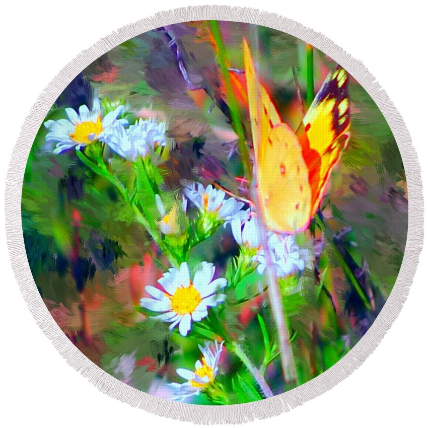 Landscape Round Beach Towel featuring the painting Last Of The Season by David Lane