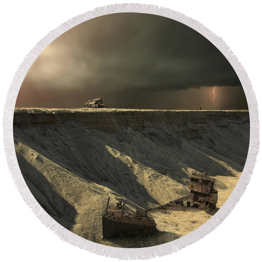 Landscape Round Beach Towel featuring the photograph Last Outpost by Michal Karcz