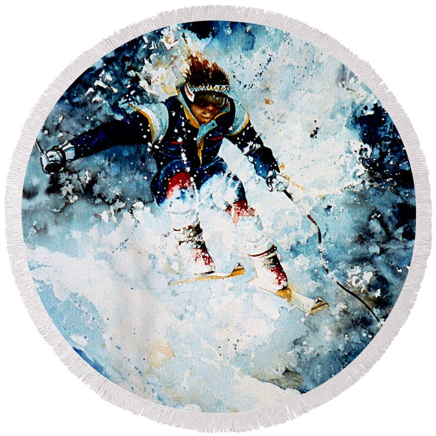 Sports Art Round Beach Towel featuring the painting Last Run by Hanne Lore Koehler