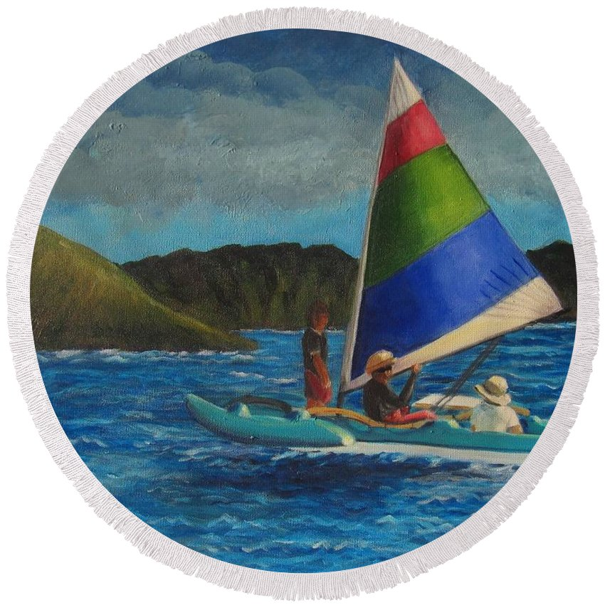Sailboats Round Beach Towel featuring the painting Last Sail Before The Storm by Laurie Morgan