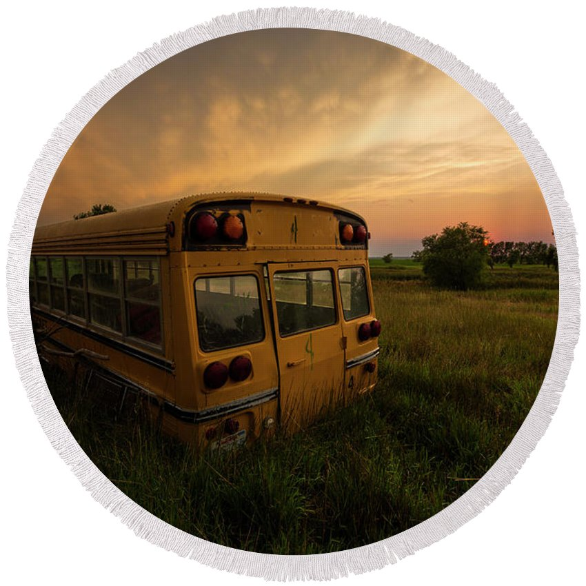 Sunset Round Beach Towel featuring the photograph Last Stop by Aaron J Groen