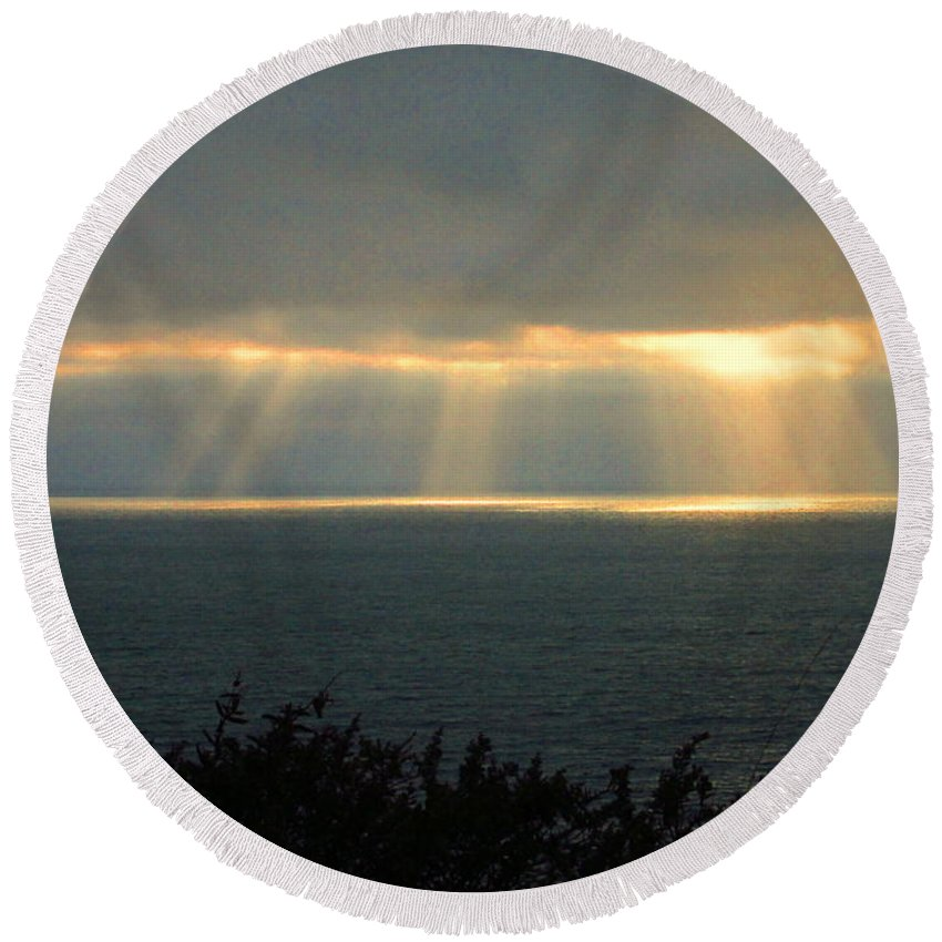 Pacific-northwest-coast Round Beach Towel featuring the photograph Last Sunbeams Of The Day Two by Joyce Dickens