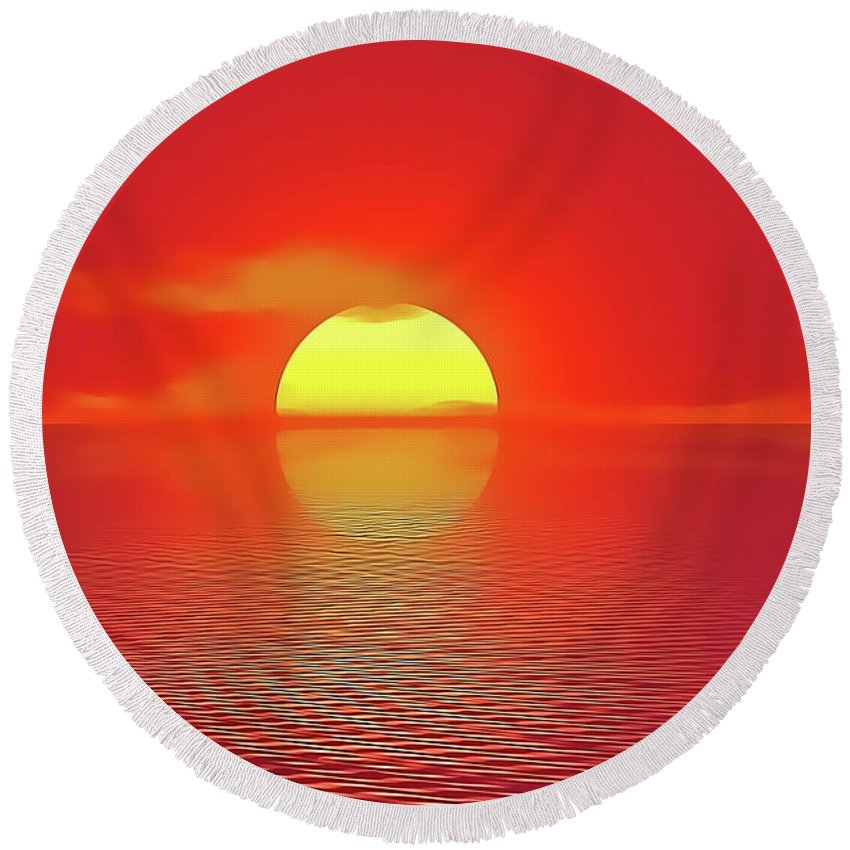 Sunset Round Beach Towel featuring the painting Last Sunset by Harry Warrick