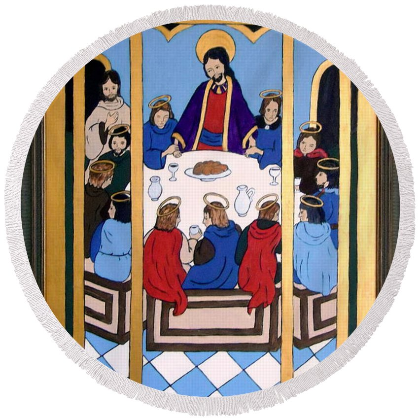 Christ Round Beach Towel featuring the painting Last Supper by Stephanie Moore