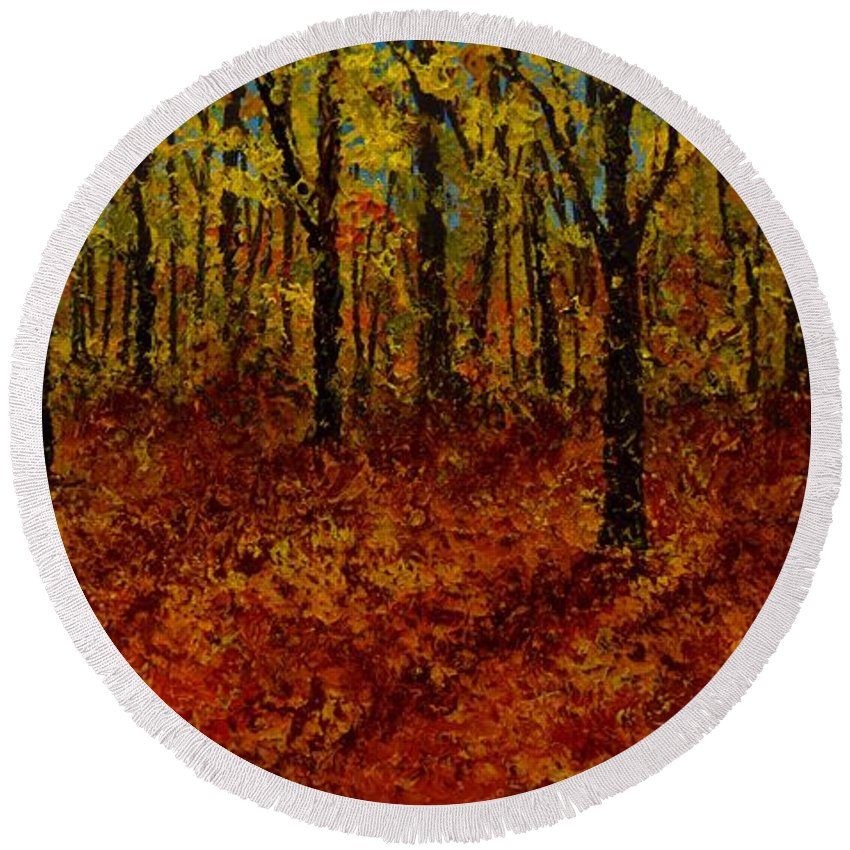 Round Beach Towel featuring the painting Not Yet Winter by Barrie Stark