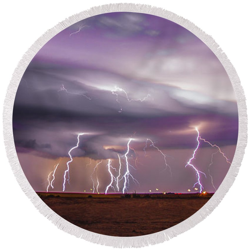 Nebraskasc Round Beach Towel featuring the photograph Late July Storm Chasing 086 by NebraskaSC