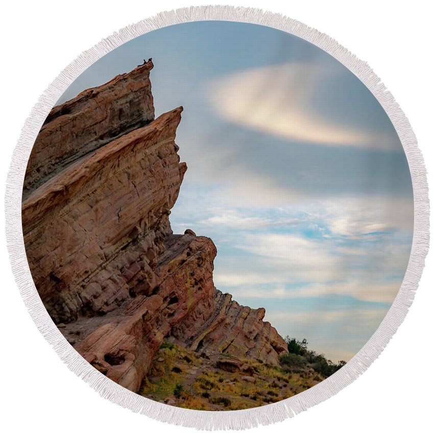 Vasquez Round Beach Towel featuring the photograph Late On Vasquez Rocks By Mike-hope by Michael Hope
