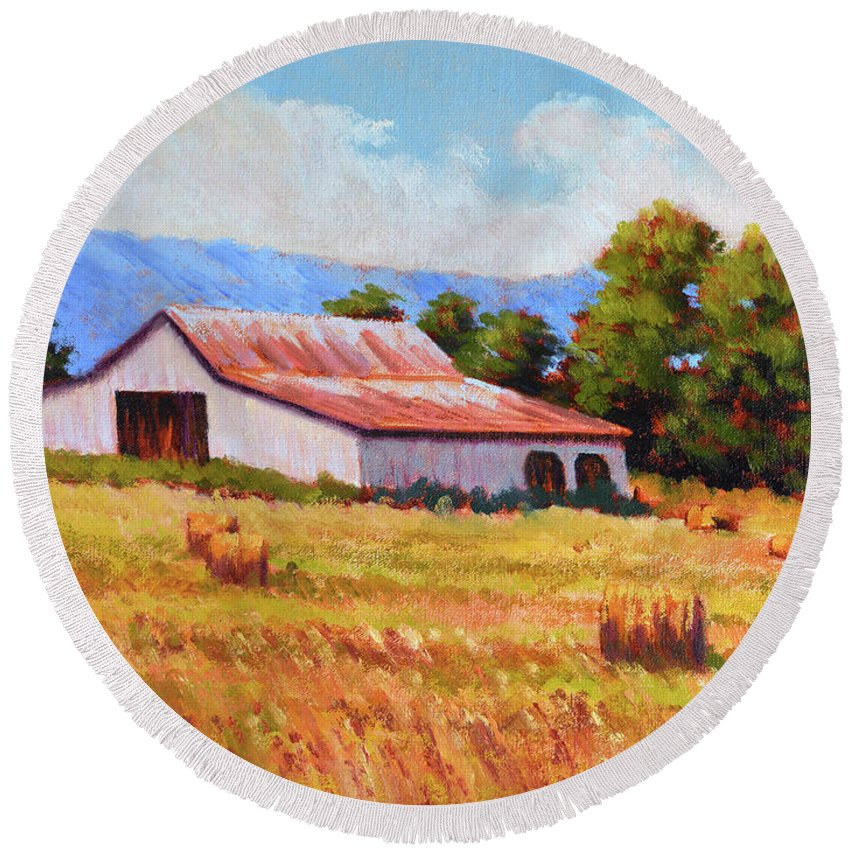 Impressionism Round Beach Towel featuring the painting Late Summer Hay by Keith Burgess