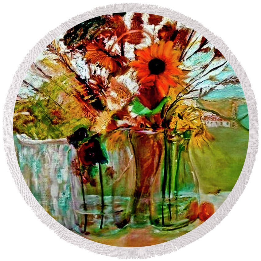 Flowers Jar Glass Thistle Picnic Green Lemon Rose Round Beach Towel featuring the painting Late Summer by Jack Diamond