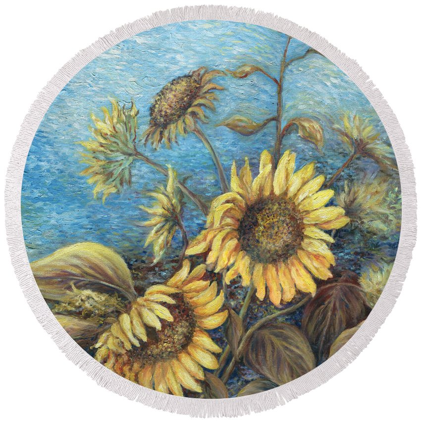 Sunflowers Round Beach Towel featuring the painting Late Sunflowers by Valerie Meotti