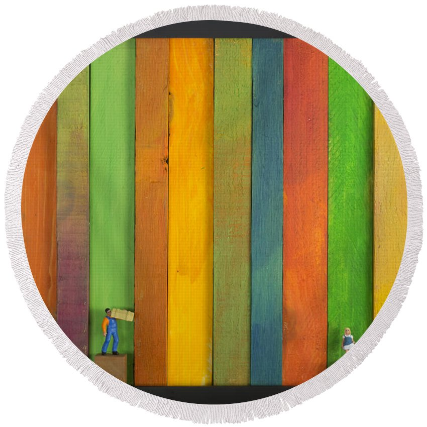 Color Round Beach Towel featuring the painting Lathe1 Bail And Girl by Tim Nyberg