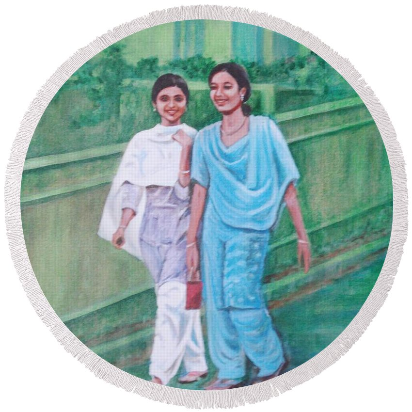 Round Beach Towel featuring the painting Laughing Girls by Usha Shantharam