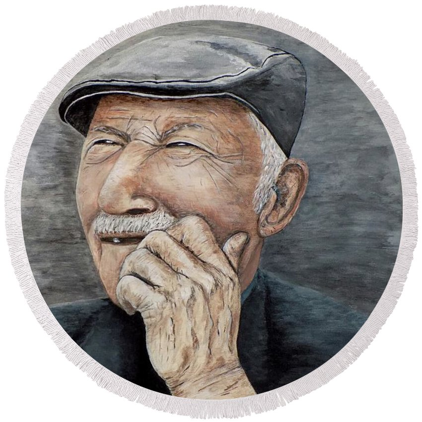 Old Man Round Beach Towel featuring the painting Laughing Old Man by Judy Kirouac