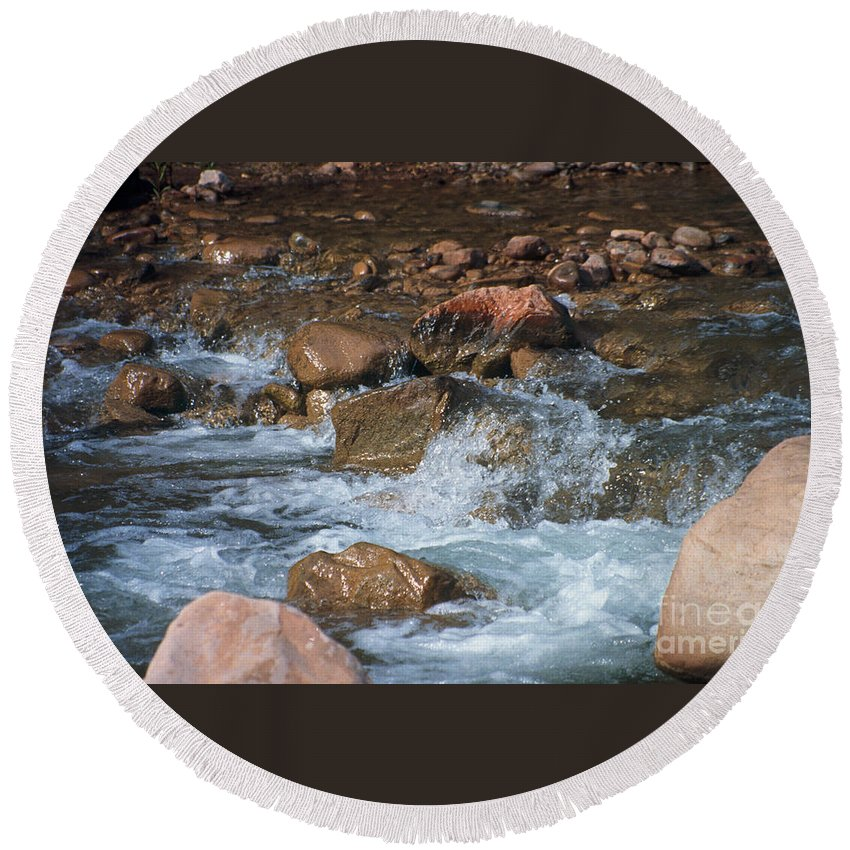 Creek Round Beach Towel featuring the photograph Laughing Water by Kathy McClure