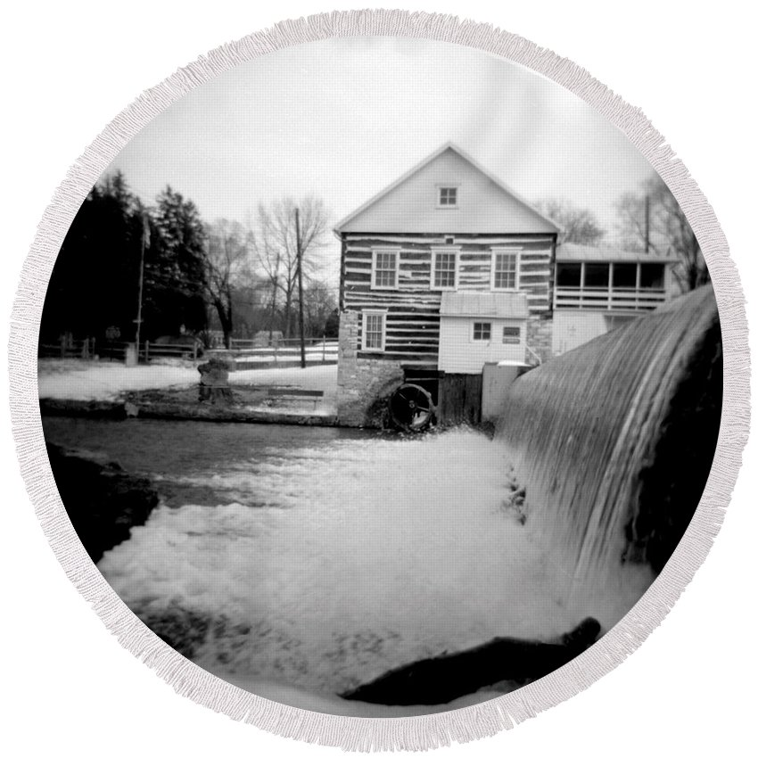 Photograph Round Beach Towel featuring the photograph Laughlin Mill by Jean Macaluso