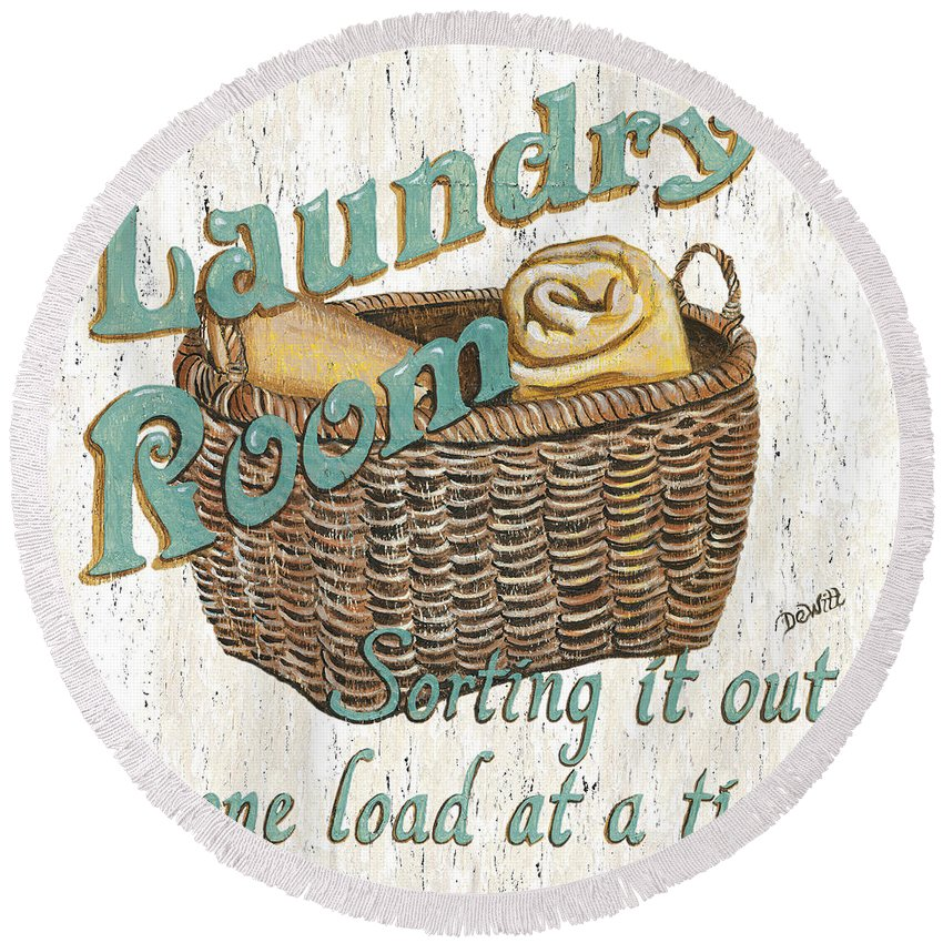 Laundry Round Beach Towel featuring the painting Laundry Room Sorting It Out by Debbie DeWitt