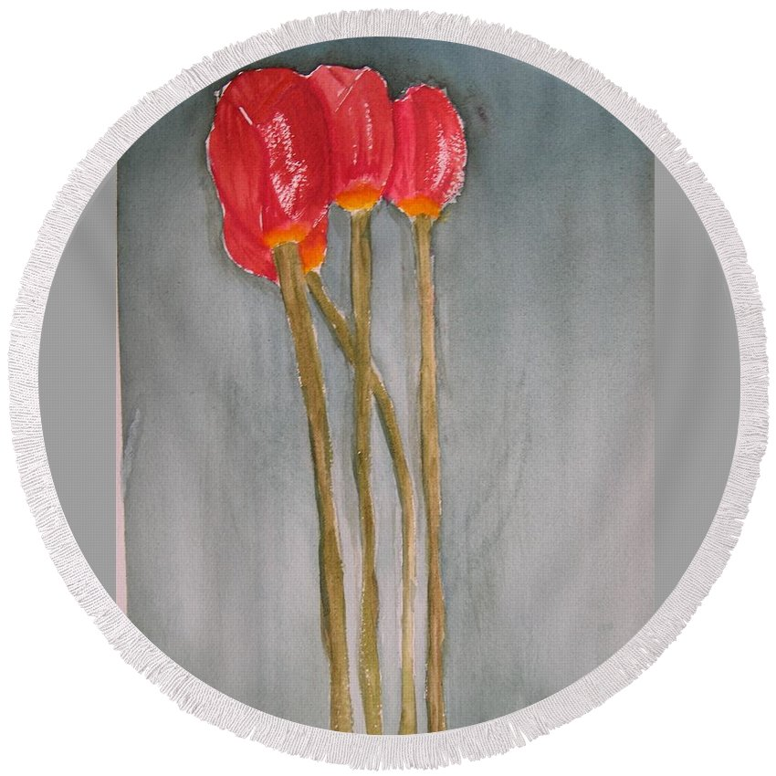 Tulip Flower Bouquet Round Beach Towel featuring the painting Laura by Patricia Caldwell