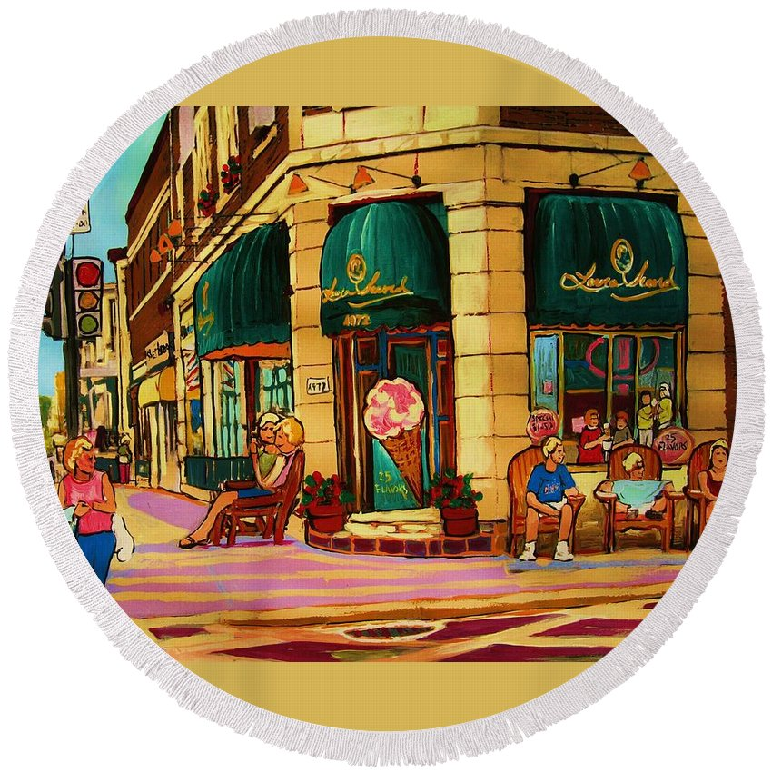 Montreal Streetscenes Round Beach Towel featuring the painting Laura Secord Candy And Cone Shop by Carole Spandau