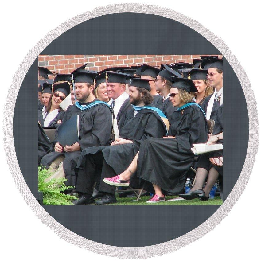 Graduation Round Beach Towel featuring the photograph Laura's Graduation by Kelly Mezzapelle