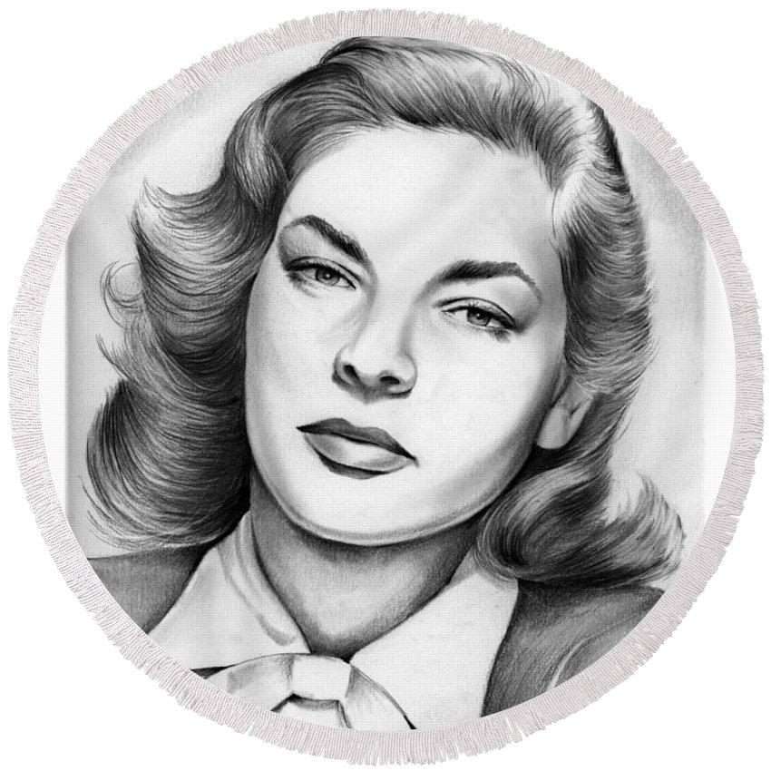 Lauren Bacall Round Beach Towel featuring the drawing Lauren Bacall by Greg Joens