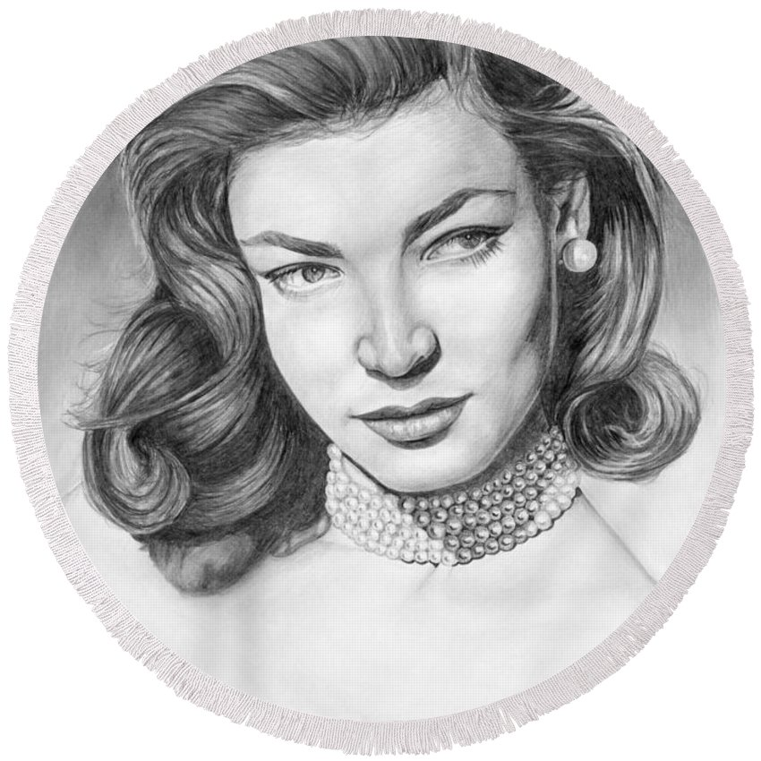 Actress Round Beach Towel featuring the drawing Lauren Bacall by Rob De Vries