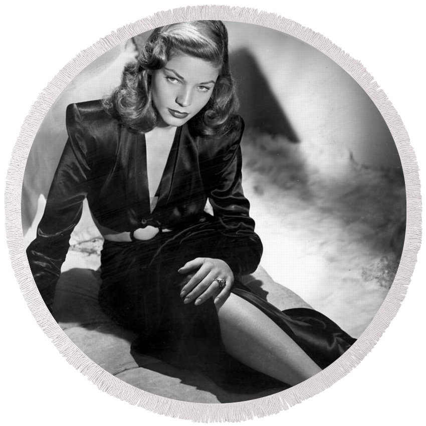 Lauren Bacall Round Beach Towel featuring the photograph Lauren Bacall by Unknown