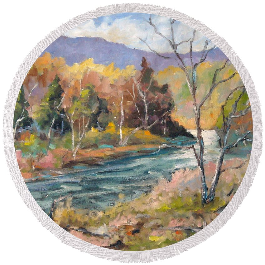 Landscape Round Beach Towel featuring the painting Laurentian Hills by Richard T Pranke