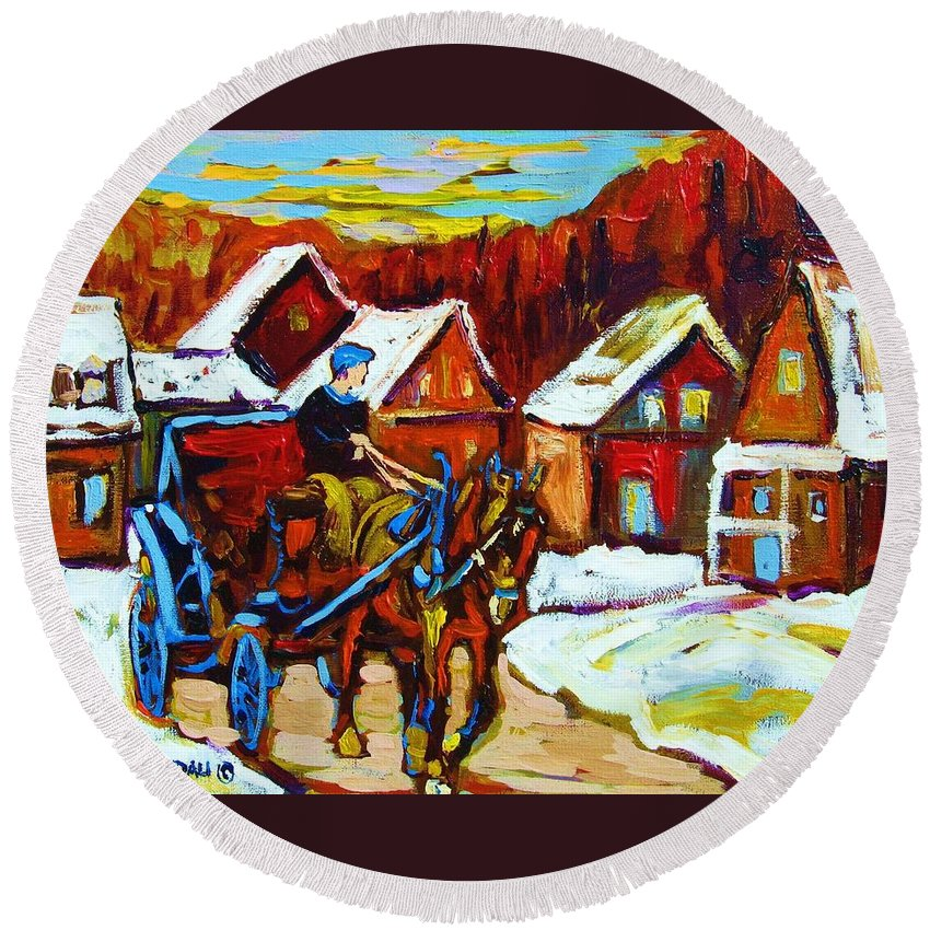 Horse And Carriage Round Beach Towel featuring the painting Laurentian Village Ride by Carole Spandau