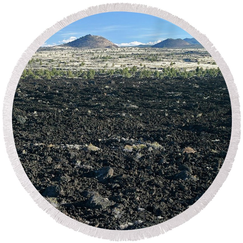 California Round Beach Towel featuring the photograph Lava Flow And Schonchin Butte, Lava Beds Nm, California, Usa by Robert Mutch