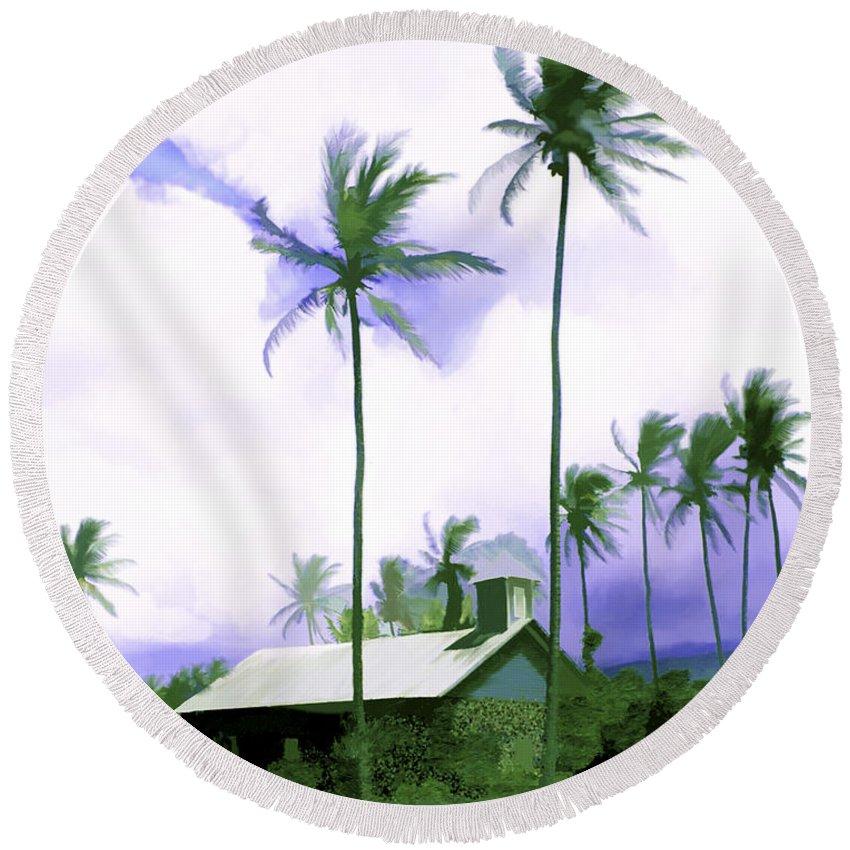 Hawaii Round Beach Towel featuring the photograph Lava Rock Church by Kurt Van Wagner