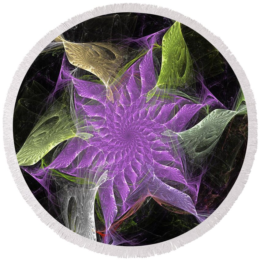 Fantasy Round Beach Towel featuring the digital art Lavendar Fractal Flower by David Lane