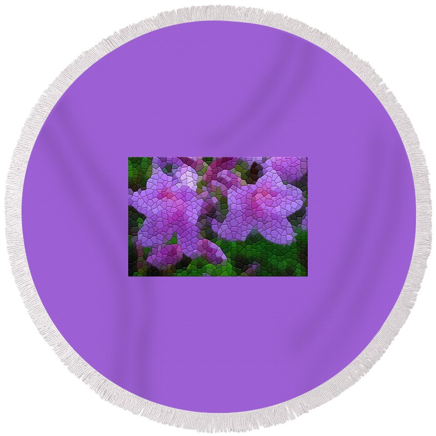 Azalea Round Beach Towel featuring the photograph Lavender Azaleas by Kathryn Meyer
