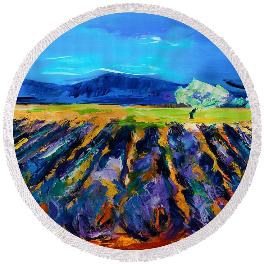 Lavender Round Beach Towel featuring the painting Lavender Field by Elise Palmigiani