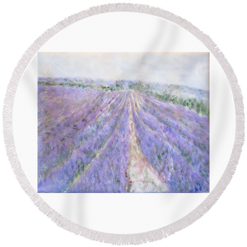 Impressionism Round Beach Towel featuring the painting Lavender Fields Provence-france by Glenda Crigger