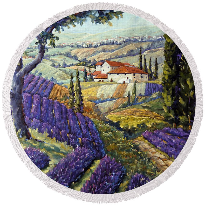 Canadian Artist Painter Round Beach Towel featuring the painting Lavender Fields Tuscan By Prankearts Fine Arts by Richard T Pranke