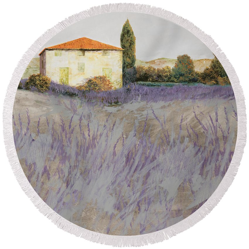 Lavender Round Beach Towel featuring the painting Lavender by Guido Borelli