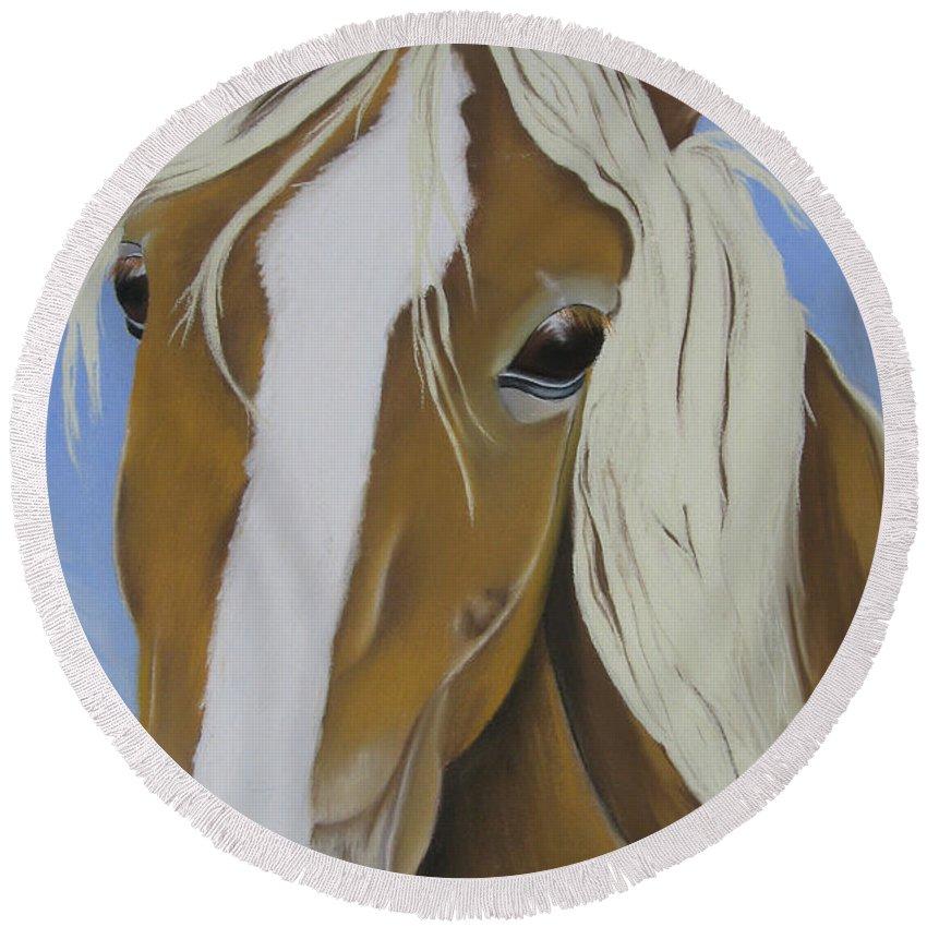 Horse Round Beach Towel featuring the pastel Lavender Horse by Michelle Hayden-Marsan