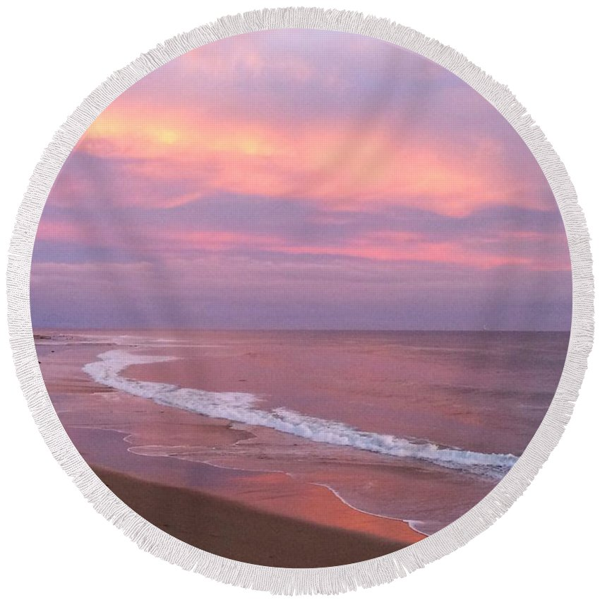 Landscape Round Beach Towel featuring the photograph Lavender Light by JoJo Brown