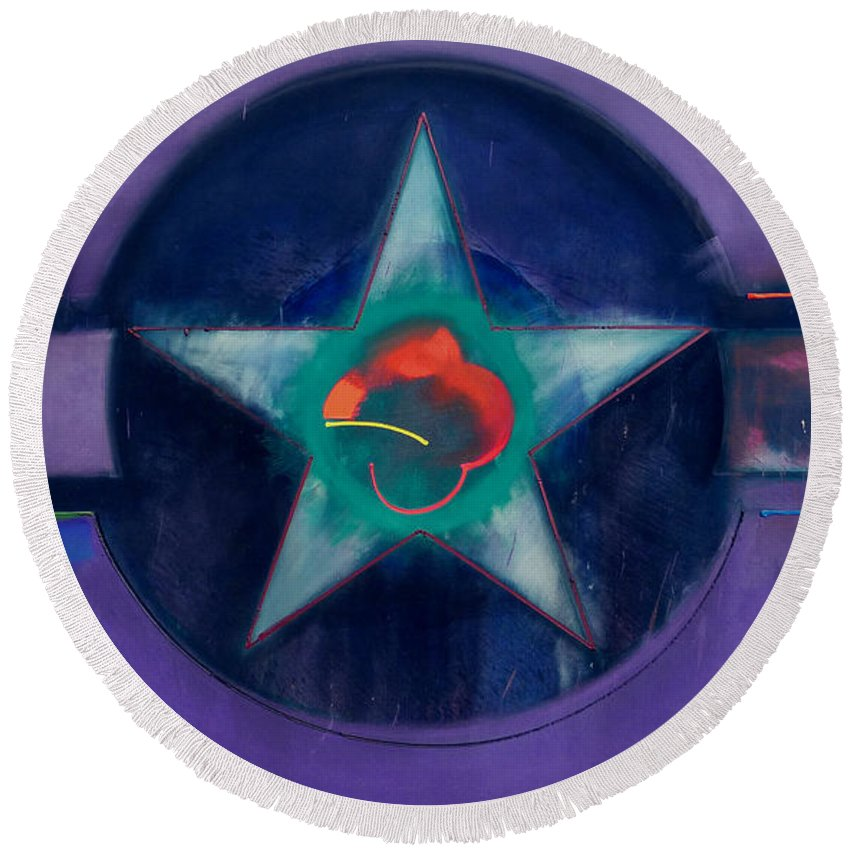 Usaaf Round Beach Towel featuring the painting Lavender Mist by Charles Stuart