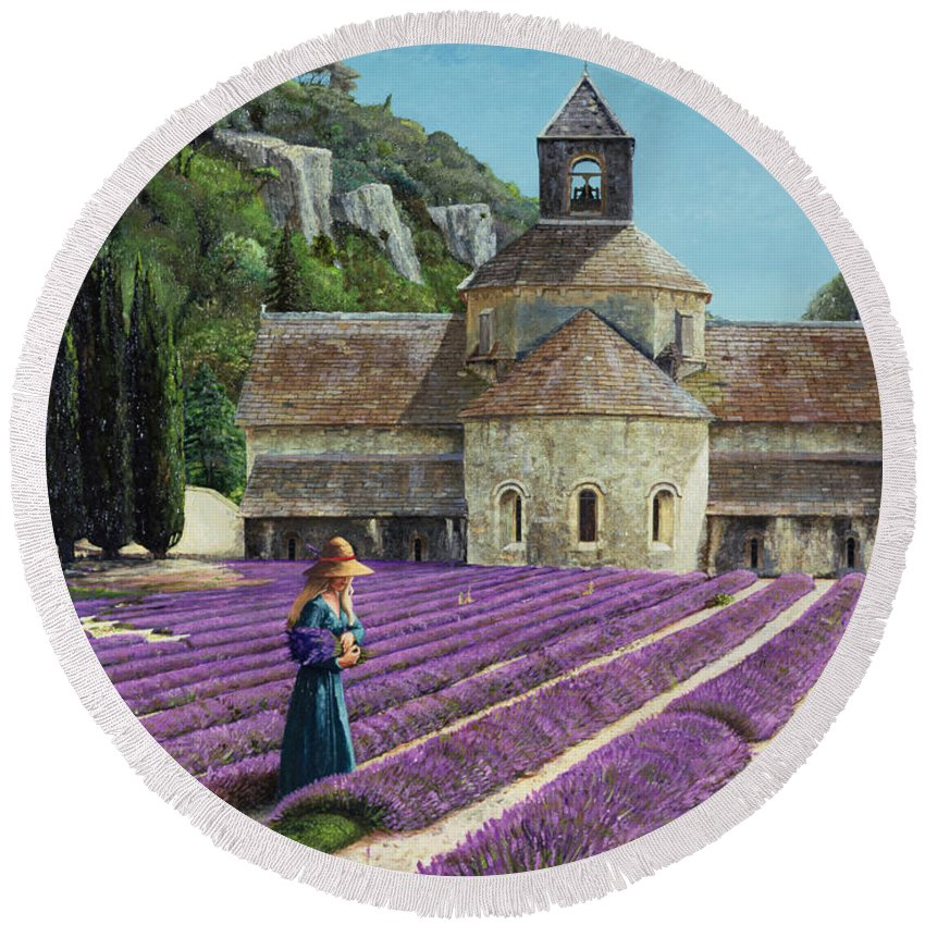 Field; Abbey; Church; Picking; Girl; Flowers; Abbaye Senanque; Provence; Tree; Trees; Lavender Round Beach Towel featuring the painting Lavender Picker - Abbaye Senanque - Provence by Trevor Neal