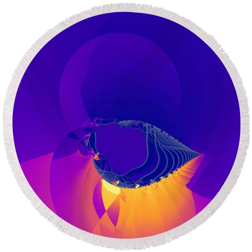 Fractal Art Round Beach Towel featuring the digital art Lavender Sky by Ron Bissett