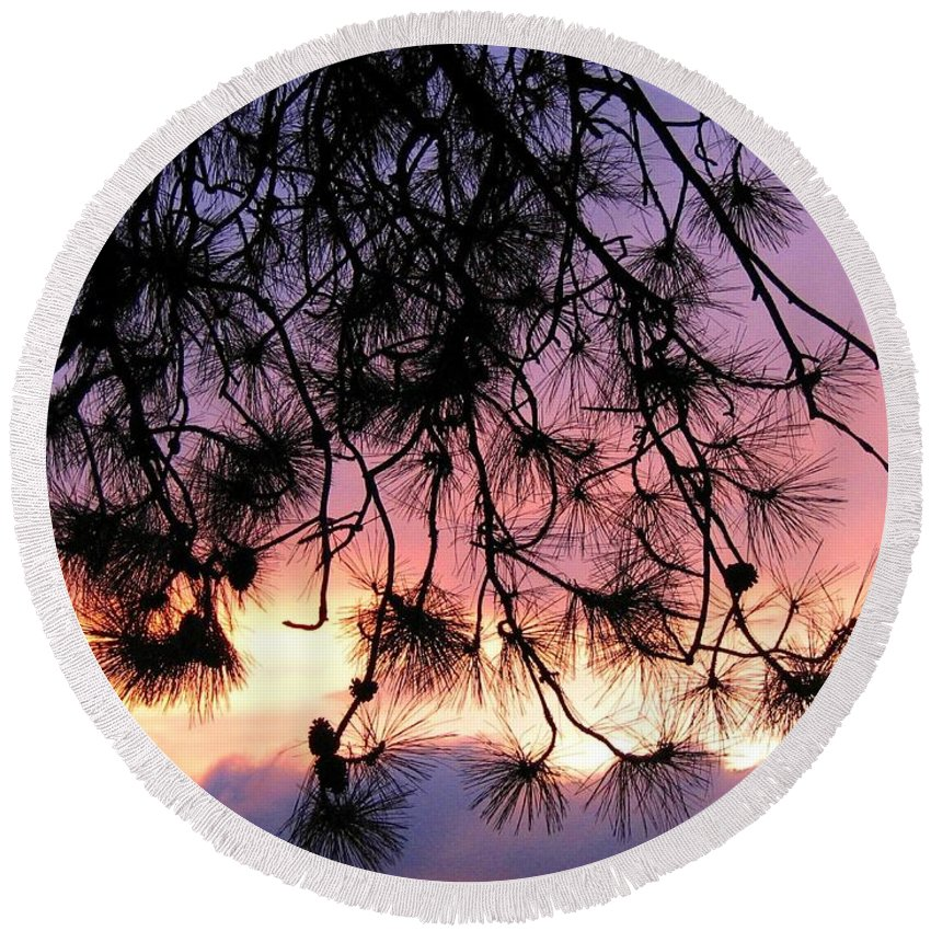 Sunset Round Beach Towel featuring the photograph Lavender Sunset by Will Borden