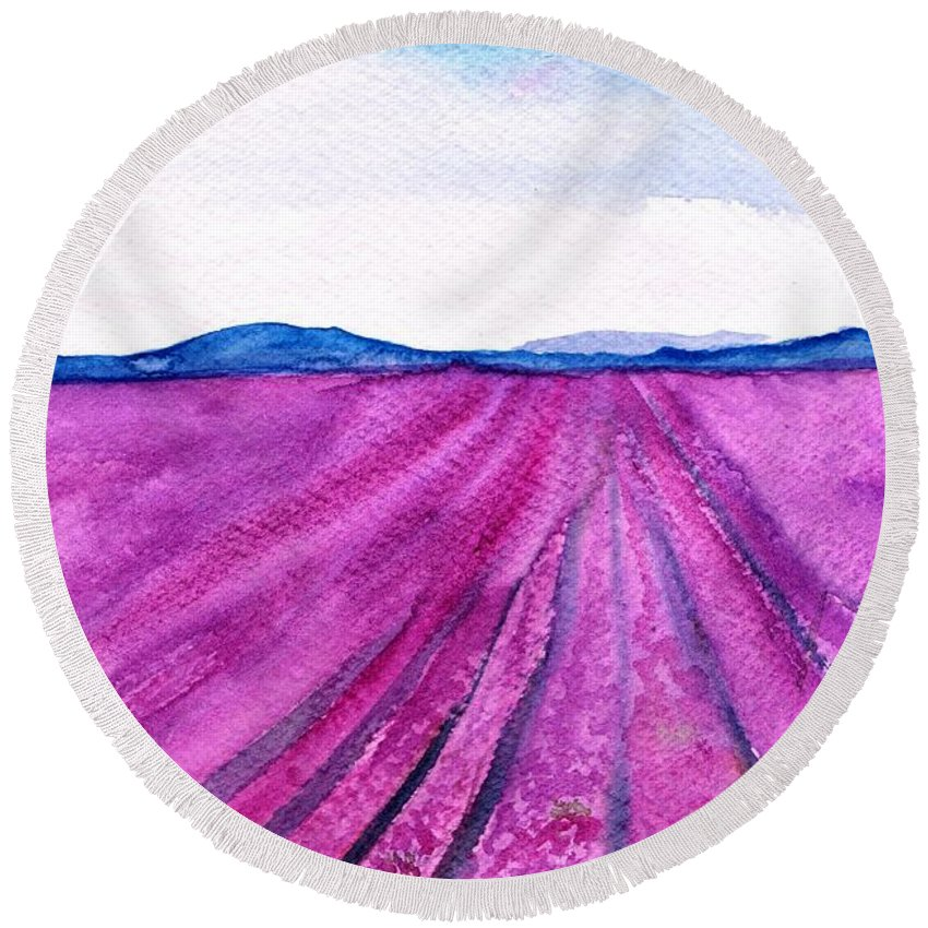 Lavender Field Round Beach Towel featuring the painting Lavender by Sweeping Girl