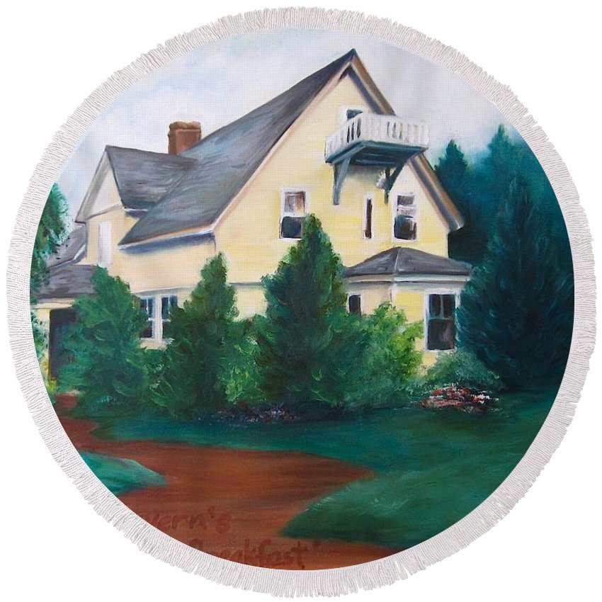 Landscape Round Beach Towel featuring the painting Lavern's Bed And Breakfast by Jennifer Christenson