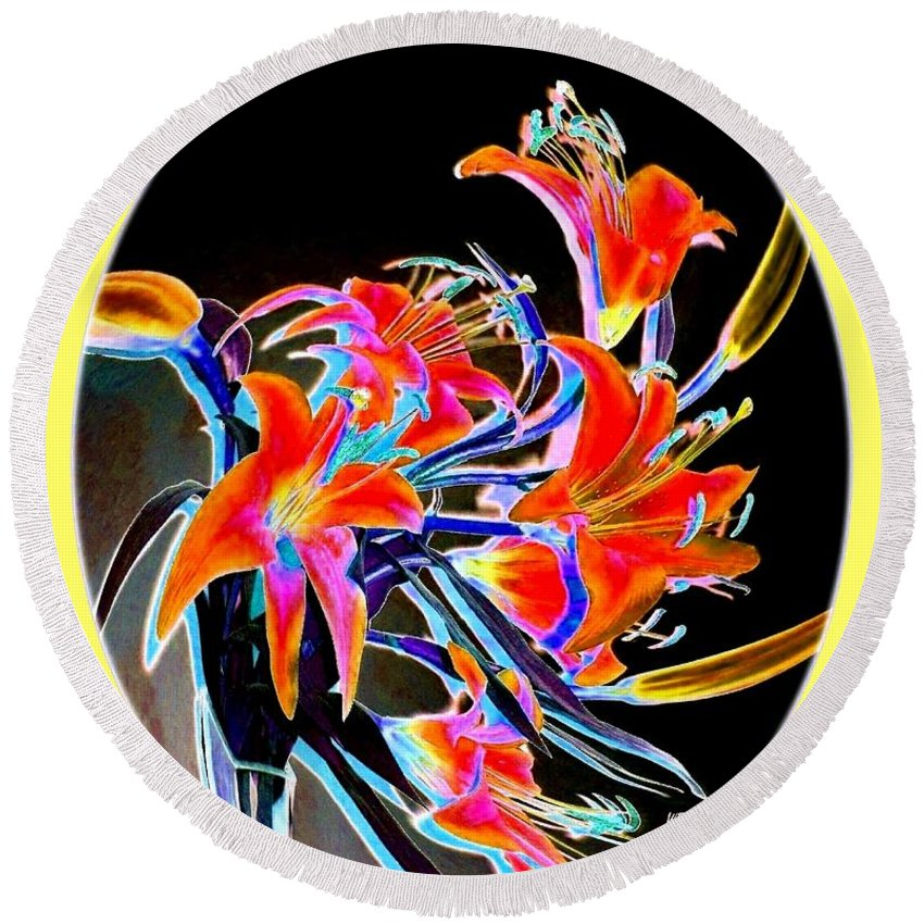 Lilies Round Beach Towel featuring the digital art Lavish Lilies 2 by Will Borden
