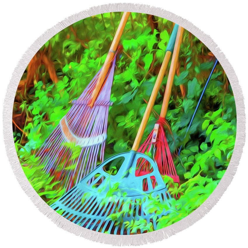 Lematis Vine Round Beach Towel featuring the photograph Lawn Tools by Tom Singleton
